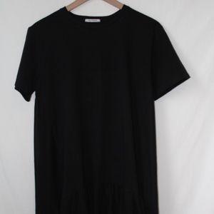 ZARA Black Chiffon Underlay Flowy Short Sleeve